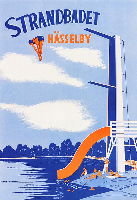 Strandbadet Hässelby - Okänd konstnär 1948 - Kungliga biblioteket KB