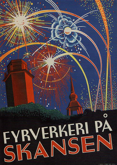 Fyrverkeri på Skansen - Okänd konstnär 1950-talet - Familjen Jaretegs samling