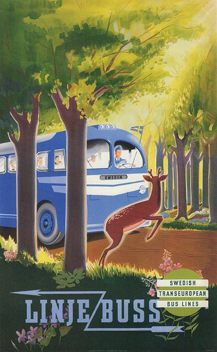 Linjebuss - okänd konstnär 1948