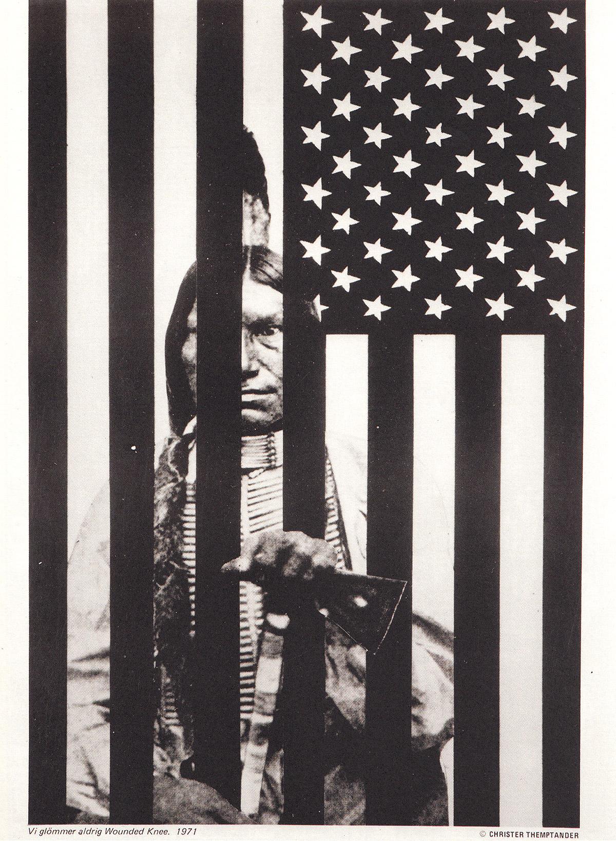Vi glömmer aldrig Wounded Knee fotomontage av Christer Themptander 1971