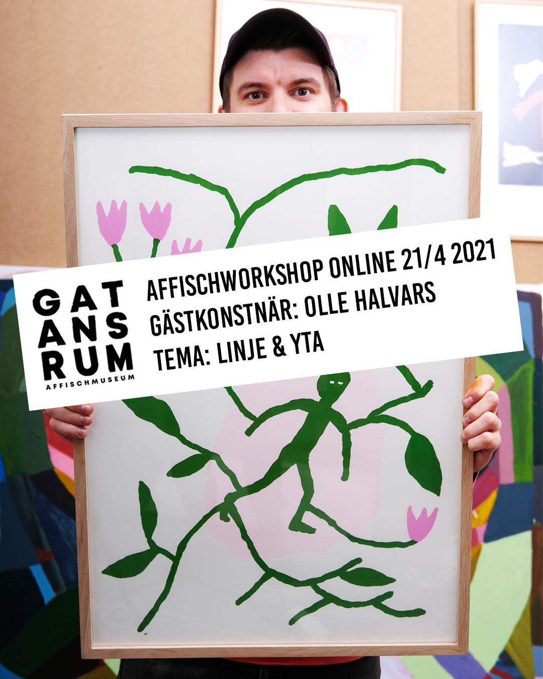 Affischworkshop online med Gatans Rum & Olle Halvars 21/4 2021